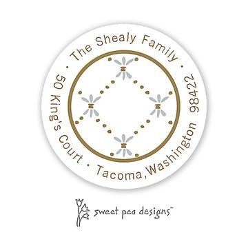 Fleur De Lis Gold & Silver Round Address Sticker