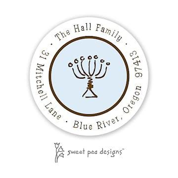 Simple Blue & Chocolate Round Address Sticker