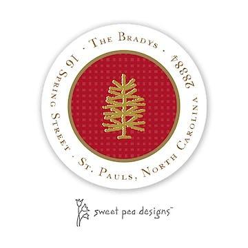 Linen Red & Gold Round Address Sticker