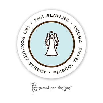 Simple Aqua & Chocolate Round Address Sticker