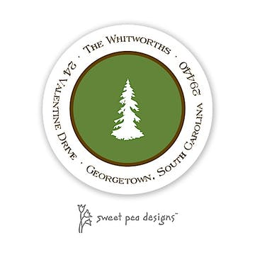 Simple Green & Chocolate Round Address Sticker