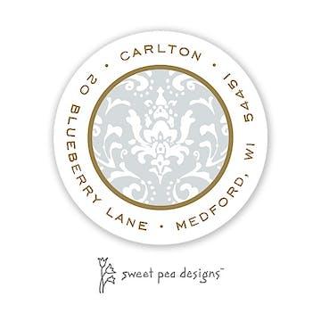 Damask Silver & Gold Round Address Sticker