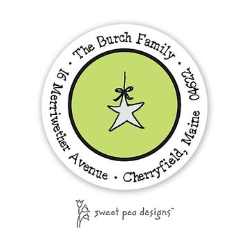 Simple Lime Green & Black Round Address Sticker