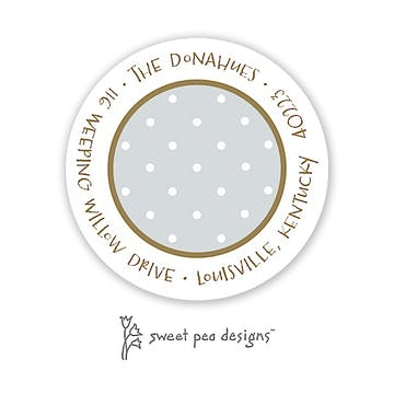 Tiny Dots White On Silver & Gold Round Address Sticker