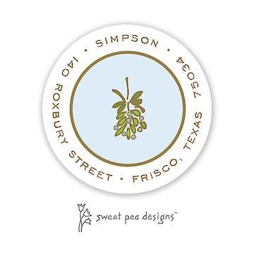 Simple Blue & Gold Round Address Sticker