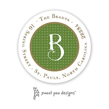 Linen Green & Gold Round Address Sticker