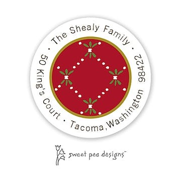 Fleur De Lis Red & Green Round Address Sticker