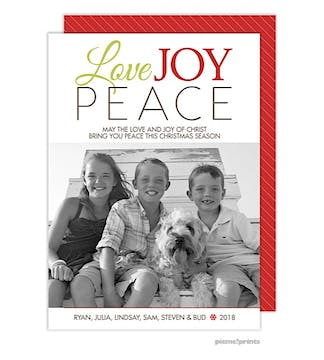 Love Joy Peace Red Holiday Flat Photo Card