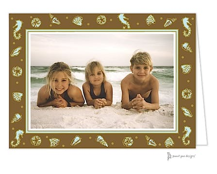 Beach Aqua & Chocolate Holiday Print & Apply Folded Photo Card
