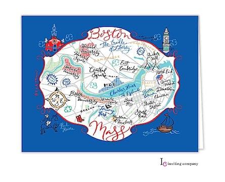 Boston Map Folded Note