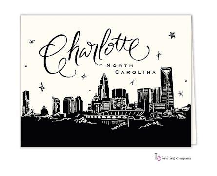 Charlotte Skyline Folded Note