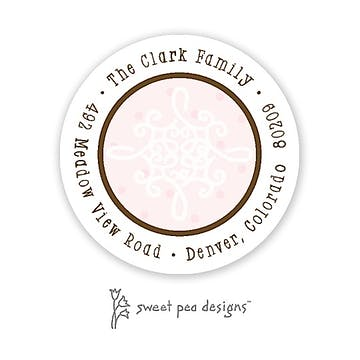 Damask & Dots Pink Round Return Address Sticker