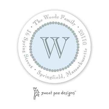 Dotted Border Silver & Blue Round Return Address Sticker