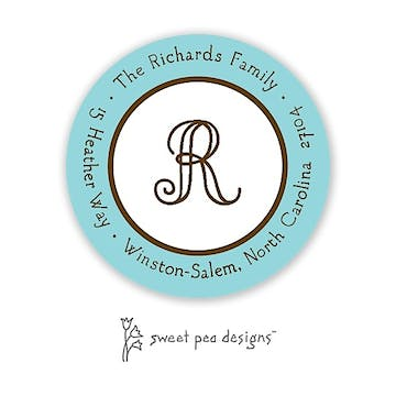 Classic Edge Aqua & Chocolate Round Return Address Sticker