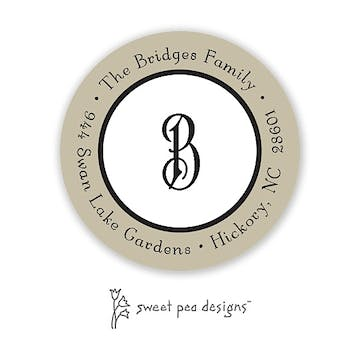 Classic Edge Taupe & Black Round Return Address Sticker