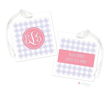 Lavender Gingham Luggage Tag