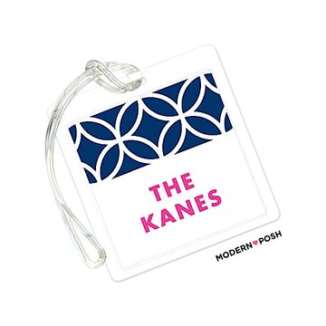 Lattice Posh Navy ID Tag