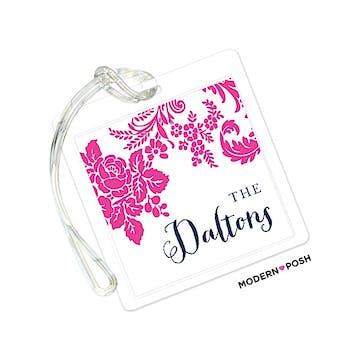 Pink Flourish Posh with Navy Ink ID Tag
