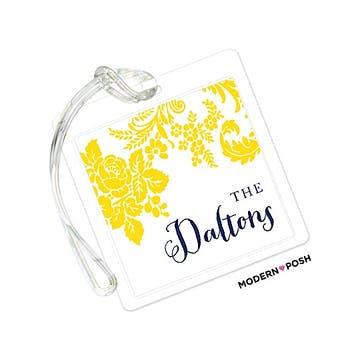 Yellow Flourish Posh with Navy Ink ID Tag