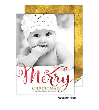 Merry In Foil Holiday Flat Photo Card