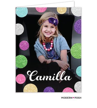 Glitter Dots Digital Photo Folded Note