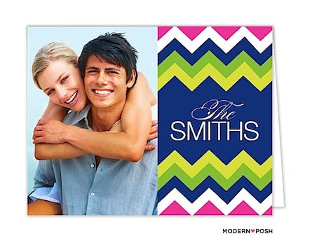 Chevron Prep Blue Digital Photo Folded Note