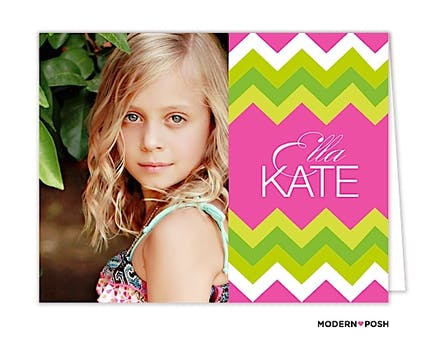 Chevron Prep Pink Digital Photo Folded Note