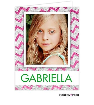 Glitter Chevron Digital Photo Folded Note