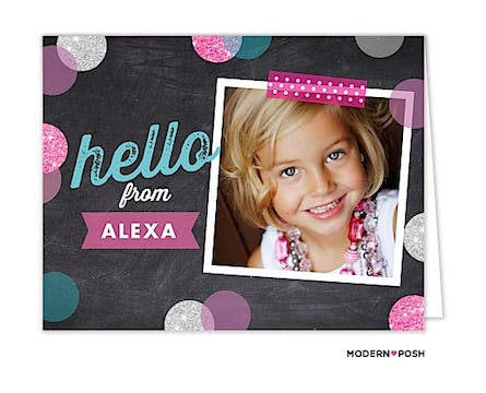 Hello In Chalk Digital Photo Folded Note