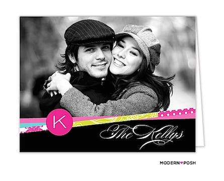 Mod Ribbon Initial Digital Photo Folded Note