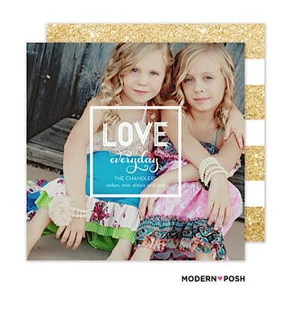 Modern Love Holiday Flat Photo Card