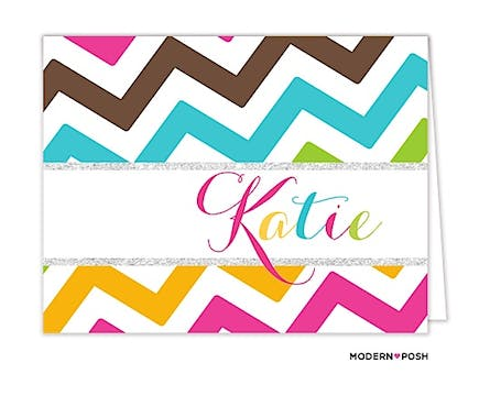 Colorful Chevron with Glitter Folded Note