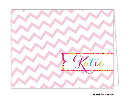 Mod Chevron Pink Folded Note