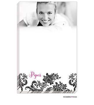 Black Flourish Posh with Pink Ink Photo Notepad