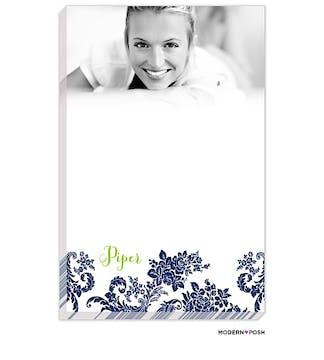 Navy Flourish Posh with Green Ink Photo Notepad