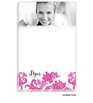 Pink Flourish Posh with Navy Ink Photo Notepad