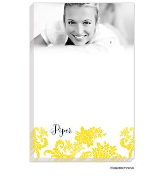Yellow Flourish Posh with Navy Ink Photo Notepad
