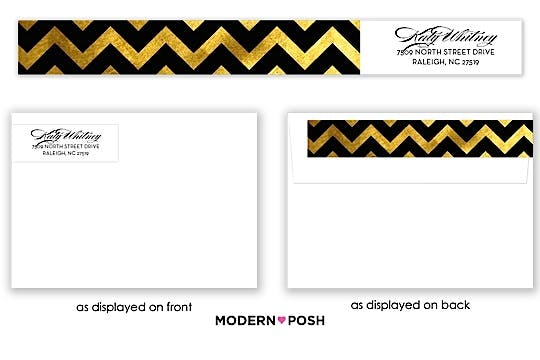 Gold Sophisticated Posh Wrap-Around Return Address Label