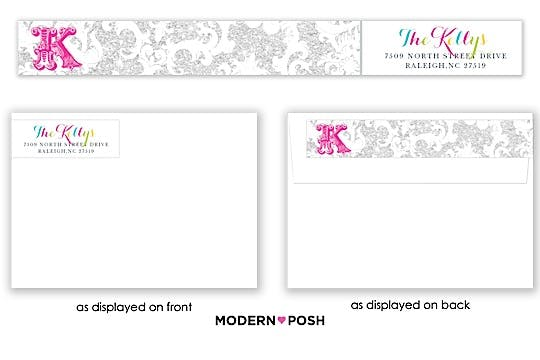 Silver Patterned Posh Wrap-Around Return Address Label