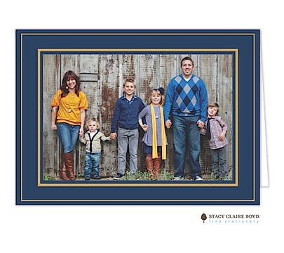 Holiday Elegance - Navy Folded Photo Card