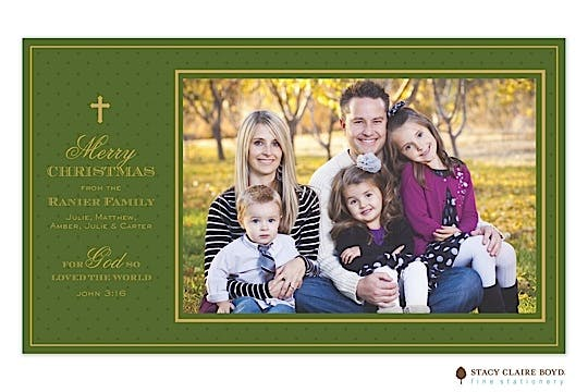 Holiday Elegance - Green Flat Photo Card