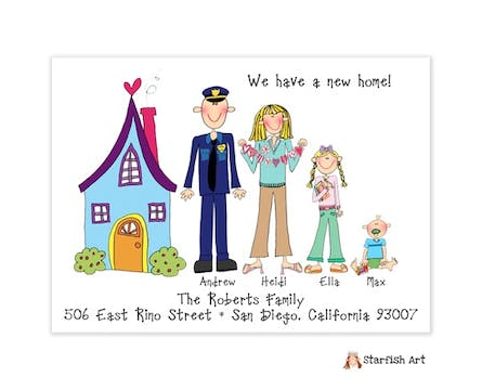 Personalized Character Horizontal Blue House Moving Card