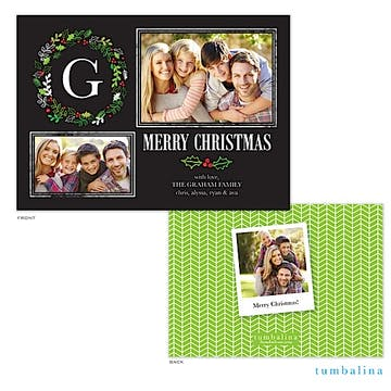 Organic Wreath Monogram Collage Holiday Flat Photo Card