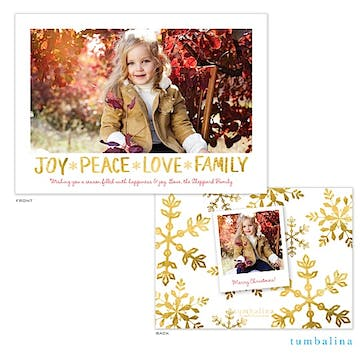 Peace Love Family Frame Holiday Flat Photo Card