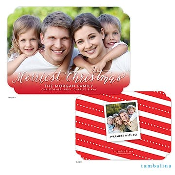 Merriest Christmas Fade Holiday Flat Photo Card