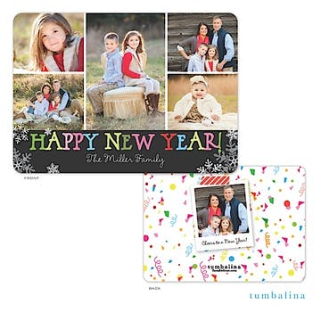 Scattered Snowflake New Year Holiday Flat Photo Card