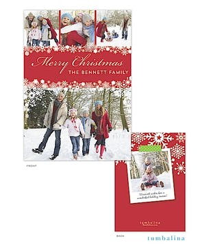 Snowflake Banner Red Holiday Flat Photo Card