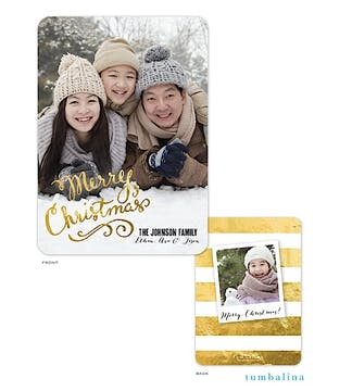 Flourished Christmas Calligraphy Holiday Flat Photo Card