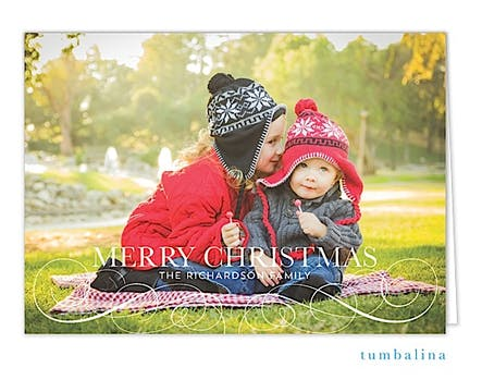 Elegant Flourishes Holiday Folded Photo Card