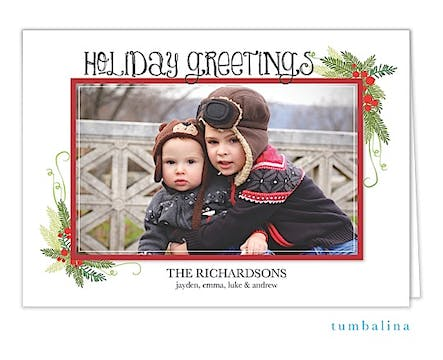 Holly Berries Frame Holiday Folded Photo Card